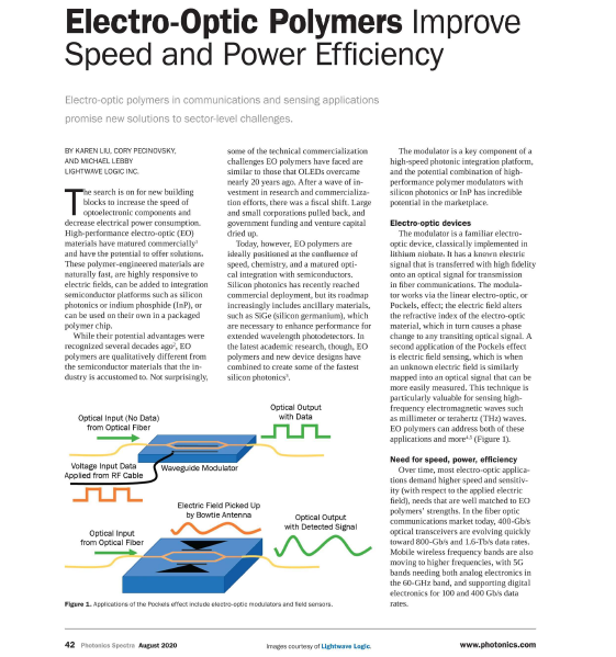 Article: Electro-Optic Polymers Improve Speed and Power Efficiency